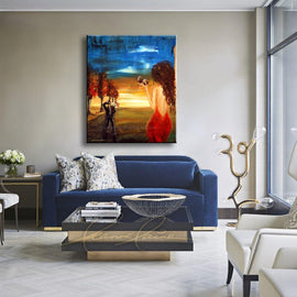 Leanne Laine Fine Art original artist painting displayed abobve couch of man and woman in red dress coming home to wife in love with wine glasses in hand