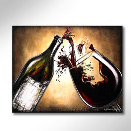 Leanne Laine Fine Art original artist painting of beautiful sexy woman in wine with bottle splashing pouring red wine