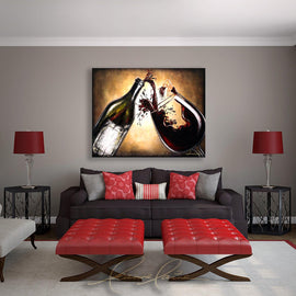 Leanne Laine Fine Art original artist painting displayed above couch of beautiful sexy woman in wine with bottle splashing pouring red wine