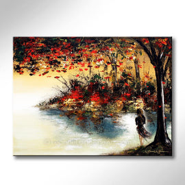 Leanne Laine Fine Art original artist painting of red and yellow leaves in nature blowing over water with woman in dress looking out over lake