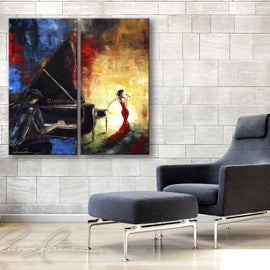 Leanne Laine Fine Art original artist painting displayed above couch of woman in red dresss singing with man pianist playing on a piano