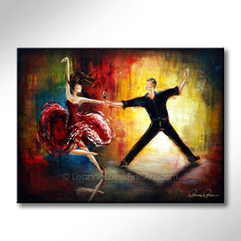 Leanne Laine Fine Art original artist painting of romantic couple dancing in suit and dress holding red wine