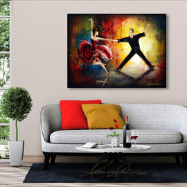 Leanne Laine Fine Art original artist painting displayed above couch of romantic couple dancing in suit and dress holding red wine