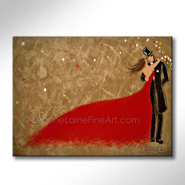 Leanne Laine Fine Art original artist painting of old fashioned bride groom in red dress tuxedo and hat with blowing bouquet of flowers