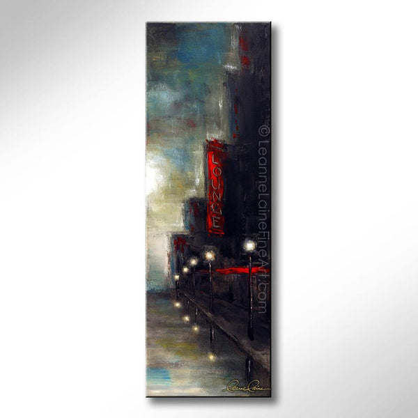 Leanne Laine Fine Art original artist painting of glowing red lounge sign on dark city street