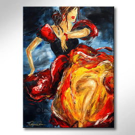 Leanne Laine Fine Art original artist painting of a spanish dancing woman dressed in beautiful red yellow and black dress