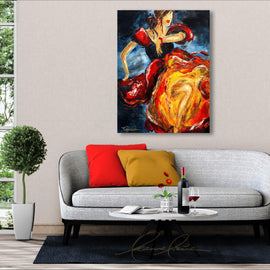 Leanne Laine Fine Art original artist painting displayed above couch of a spanish dancing woman dressed in beautiful red yellow and black dress