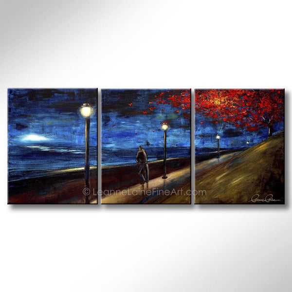 Leanne Laine Fine Art original artist painting of lonely man at night under red tree with lamp posts in silence