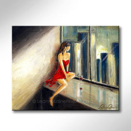 Leanne Laine Fine Art original artist painting of woman in red dress and wine in condo looking through window at city