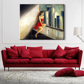 Leanne Laine Fine Art original artist painting displayed above couch of woman in red dress and wine in condo looking through window at city