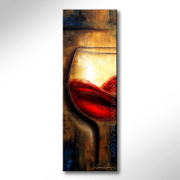 Leanne Laine Fine Art original artist painting of red wine swirling in glass