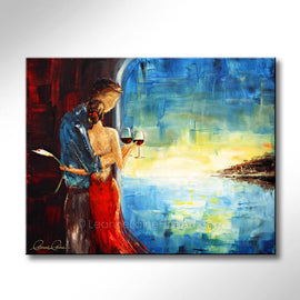 Leanne Laine Fine Art original artist painting of romantic man and woman in red dress holding flowers and wine looking over water