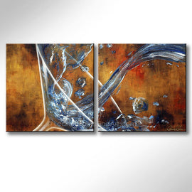 Leanne Laine Fine Art original artist painting of large martini glass pouring and splashing blue gin vodka spirits