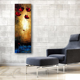 Leanne Laine Fine Art original artist painting displayed above couch  of red flowers growing beside pond water edge