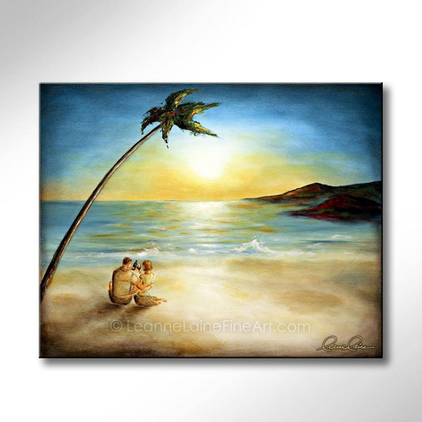 Leanne Laine Fine Art original artist painting of couple having wine on tropical beach under palm tree in the caribbean sea