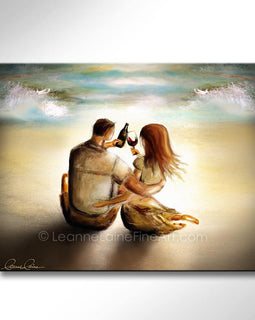 Leanne Laine Fine Art original artist painting of romantic man and woman on tropical beach by water waves enjoying wine in bottle and glass