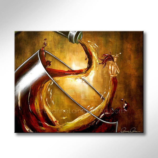 Leanne Laine Fine Art original artist painting of red and white man and woman in wine splashing and pouring while hugging romantically in love