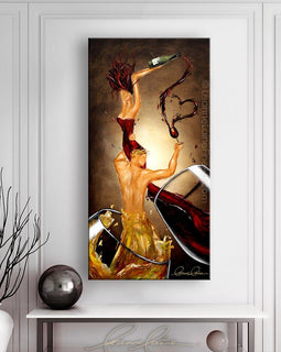 Leanne Laine Fine Art original artist painting displayed above table of romantic white and red man and woman in wine glasses splashing and holding bottle and love heart