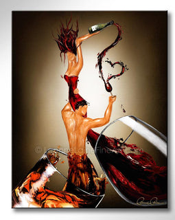 Leanne Laine Fine Art original artist painting of romantic man and woman in red wine and whiskey glasses splashing and holding bottle and love heart