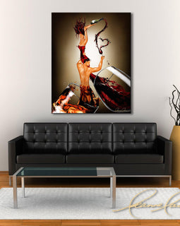 Leanne Laine Fine Art original artist painting displayed above couch of romantic man and woman in red wine and whiskey glasses splashing and holding bottle and love heart