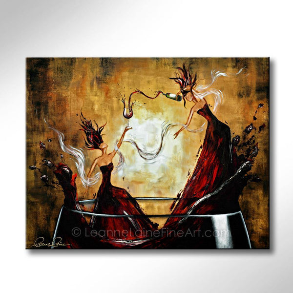Leanne Laine Fine Art painting of two beautiful sexy women in big splashing glass of red wine pouring a bottle celebrating International Women's Day IWD