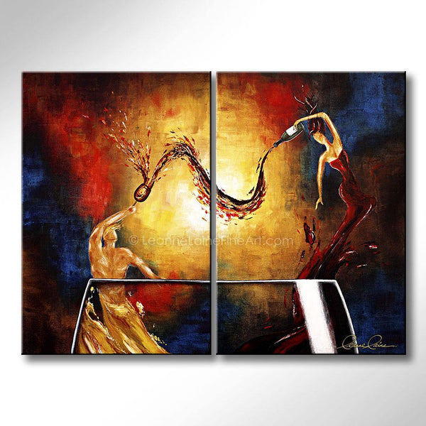 Leanne Laine Fine Art painting of romantic sexy man and woman in glass pouring wine between the couple
