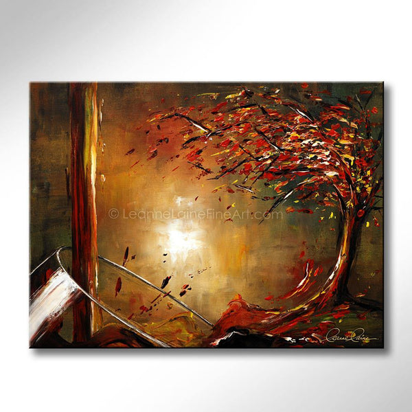 Leanne Laine Fine Art painting of autumn fall red and yellow tree with leaves pouring out of a wine glass