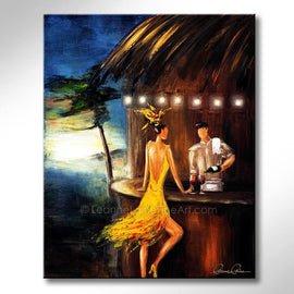 Leanne Laine Fine Art painting of woman on beach in yellow dress with bartender pouring red wine into glasses