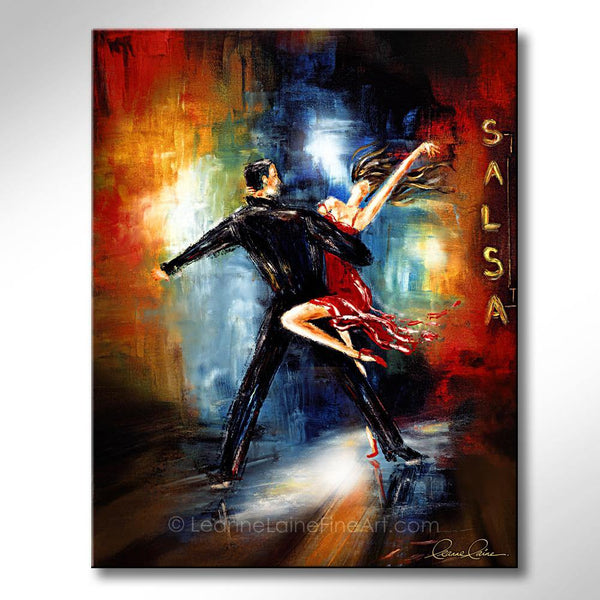 Leanne Laine Fine Art original artist painting of romantic couple in suit and red dress dancing salsa on night club floor