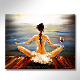 Leanne Laine Fine Art painting of brunette woman yogini with wine glass and butterfly meditating yoga by the water