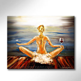 Leanne Laine Fine Art painting of blonde woman yogini with wine glass and butterfly meditating yoga by the water