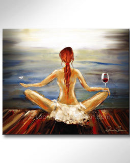 Leanne Laine Fine Art painting of red hair woman yogini with wine glass and butterfly meditating yoga by the water