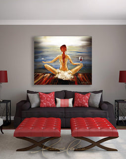 Leanne Laine Fine Art painting displayed above couch of red hair woman yogini with wine glass and butterfly meditating yoga by the water