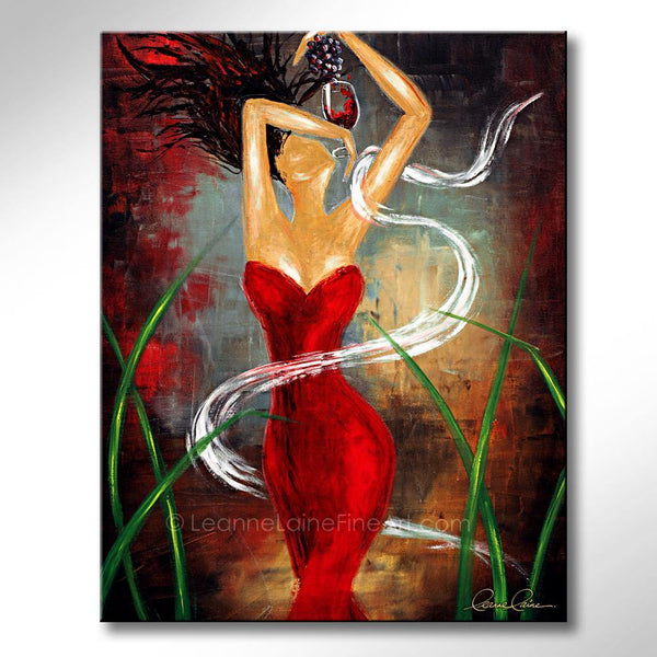 Leanne Laine Fine Art original artist painting of sexy woman in red dress with grapes in wine vineyard