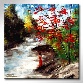 Leanne Laine Fine Art original artist painting of woman in red dress and hat standing by river with red yellow and green trees