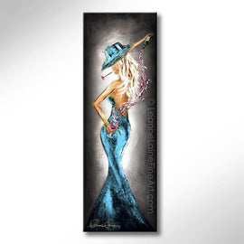 Leanne Laine Fine Art painting of sexy woman in hat and teal dress pouring pink wine behind back with rose in mouth