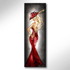 Leanne Laine Fine Art painting of sexy woman in red hat and red dress pouring white wine behind back with rose in mouth