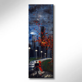 Leanne Laine Fine Art original artist painting of man and woman in red dress walking romantically on city park sidewalk