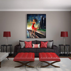 Leanne Laine Fine Art original artist painting displayed above couch of beautiful woman in red dress drinking wine outside with cigar in hand