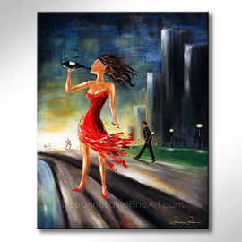Leanne Laine Fine Art original artist painting of beautiful woman in red dress drinking wine outside with cigar in hand