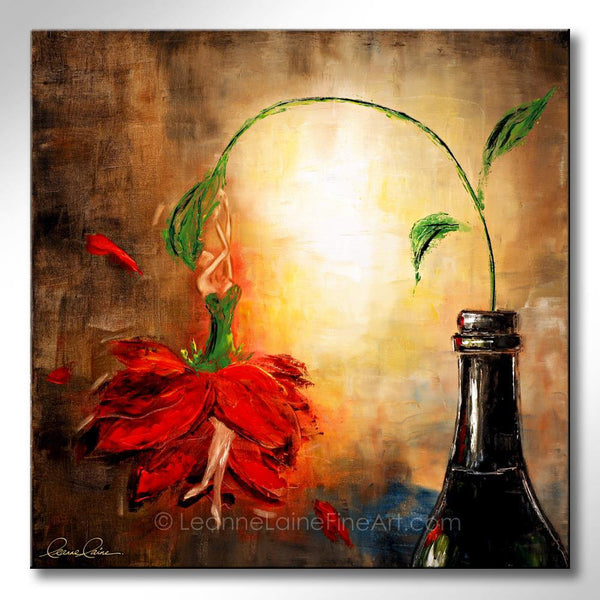 Leanne Laine Fine Art original artist painting of a bottle with a rose in ballet skirt holding onto stem being a woman in wine