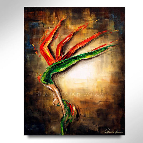 Leanne Laine Fine Art original artist painting of woman in green and red forming bird of paradise flower