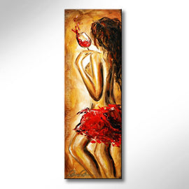 Leanne Laine Fine Art original artist painting of sexy topless woman in red holding splashing wine glass