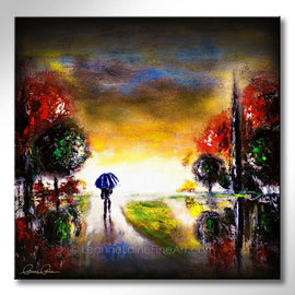 Leanne Laine Fine Art painting of man walking with blue umbrella in fall morning rain with red yellow and green trees