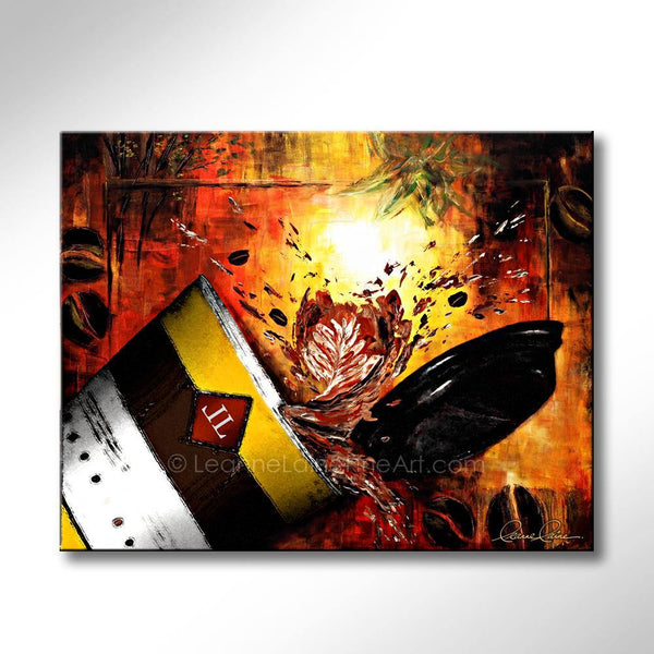 Leanne Laine Fine Art painting of coffee cup with lid spilling coffee into red and yellow fall leaves