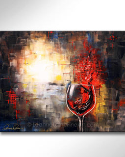 Leanne Laine Fine Art original artist painting of woman in wine swimming in abstract red wine glass