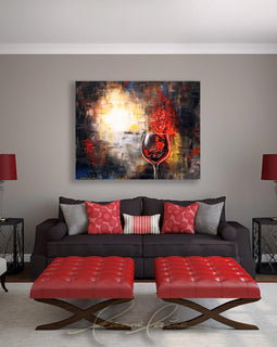 Leanne Laine Fine Art original artist painting displayed above couch of woman in wine swimming in abstract red wine glass