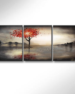 Leanne Laine Fine Art original artist painting of woman as a tree with red blowing autumn leaves against dark sky