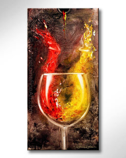 Leanne Laine Fine Art original artist painting of red and white wine forming abstract women splashing from glass