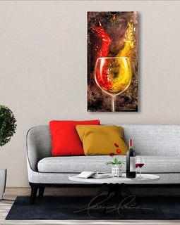 Leanne Laine Fine Art original artist painting displayed above couch of red and white wine forming abstract women splashing from glass